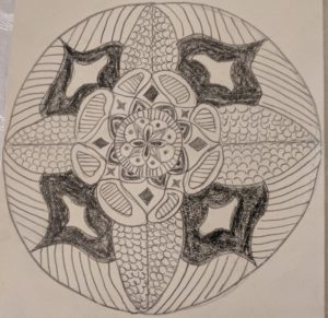 hand-drawn mandala, shaded in pencil