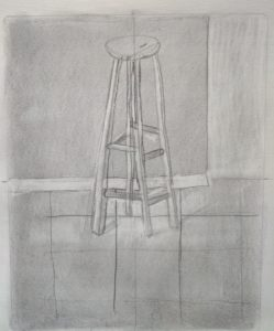 Pencil Drawing of a spindly stool against a wall