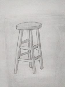 Pencil drawing of a normal looking stool